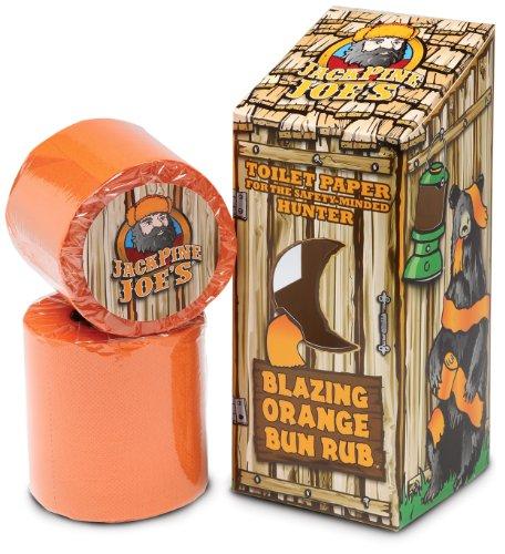 Pine Tissue (Jack Pine Joe's - Bun Rub -  BR-OT -Blaze Orange Toilet Paper - Hunting Accessoreis - Hunting Gifts - Toilet Paper - Blaze Orange - Hunting  Safety)