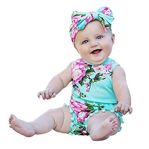 Bestpriceam Baby Clothes, Newborn Toddler Printing Bodysuit Romper Jumpsuit (6-12M, Green)