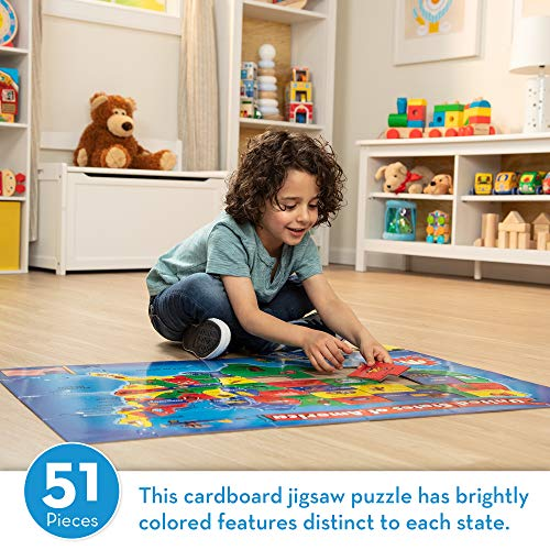 "Melissa & Doug USA (United States) Map Floor Puzzle (Wipe-Clean Surface, Teaches Geography & Shapes, 51 Pieces, 24"" L x 36"" W, Great Gift for Girls and Boys - Best for 6, 7, 8 Year Olds and Up)"