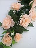 Wedding Flowers 22'' Rose Swag with Gyps Artificial Silk Home Party Decor (Peach)