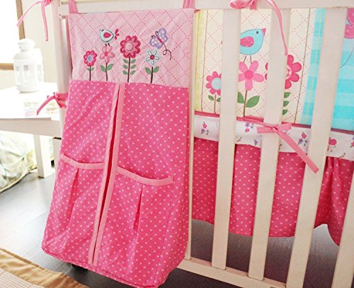 NAUGHTYBOSS Girl Baby Bedding Set Cotton 3D Embroidery Owl Bird Quilt Bumper Bedskirt Fitted Urine bag 8 Pieces Set Pink Color by NAUGHTYBOSS (Image #7)