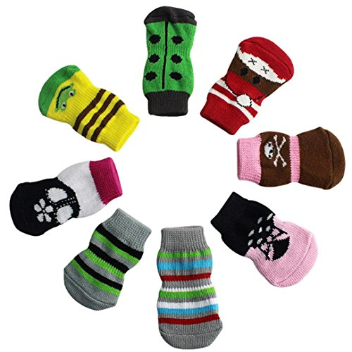 4pcs Pet Soft Cotton Anti-slip Knit Weave Warm Sock (Red) (S) - 5