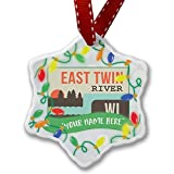Personalized Name Christmas Ornament, USA Rivers East Twin River - Wisconsin NEONBLOND