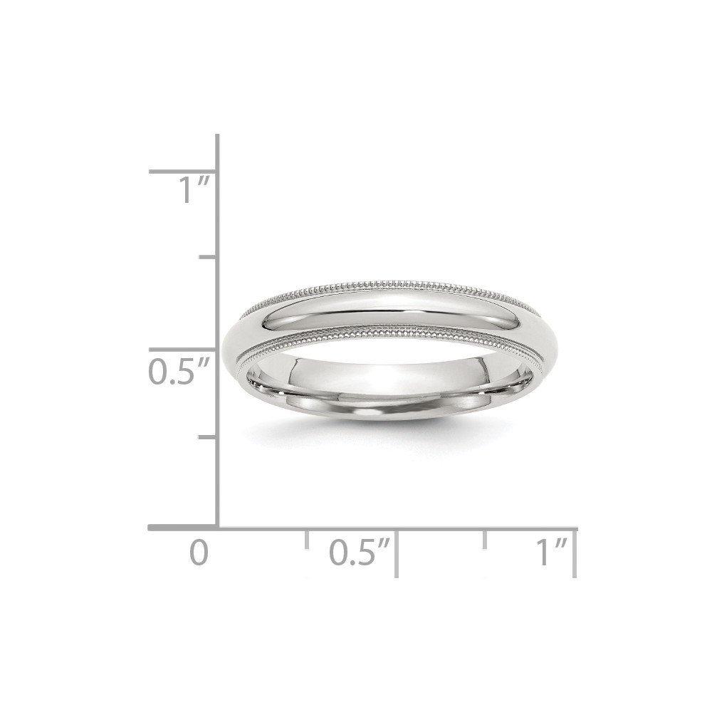 4mm Solid 925 Sterling Silver 4mm Milgrain Comfort Fit Plain Classic Traditional Wedding Band Ring