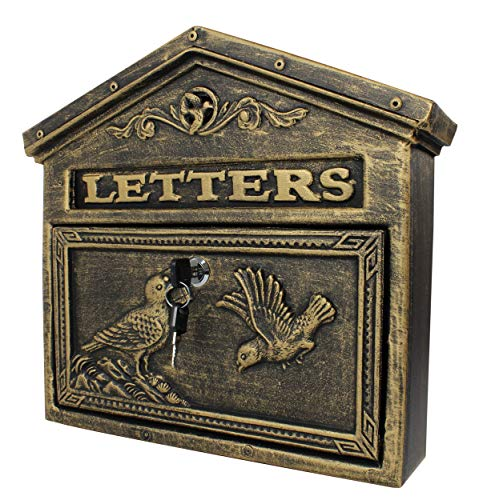 (Locking Wall Mounted Mailbox - Aluminum Bronze Vintage with Bird Design - Residential Locking Secure Letter Mail Box)