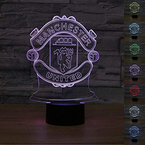 3D LED Soccer Logo Optical Illusion Night Light 7 Color Change Touch Switch Acrylic Flat & ABS Base & USB Charger Table lamp for Birthday Gift