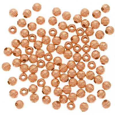 (Real Copper Fluted Round Metal Beads 4mm (100))