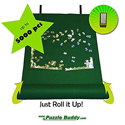 Jigsaw Puzzle Roll Up Felt Mat | Securely Store, Transport Unfinished Puzzles, (Includes Box Stand), Perfect for Grandparents, Grandkids and Puzzle Enthusiasts | Made In the USA - Storage Kit For Puzzles Up To 5000 Pieces, 72