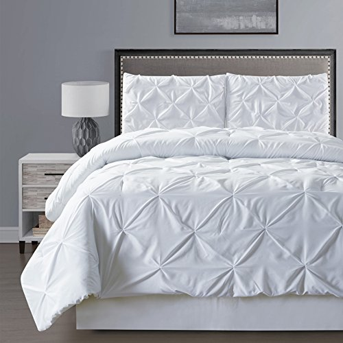 3 piece solid white pinch pleat duvet cover set full queen size bedding home garden linens. Black Bedroom Furniture Sets. Home Design Ideas