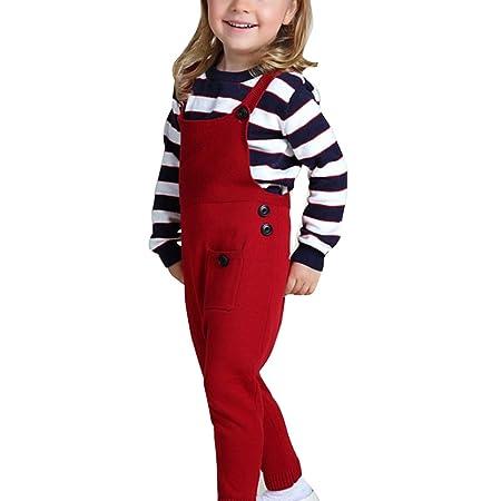 Kinder Jungen Mädchen Overall - Juleya Baby Kinder Latzhose Reine Baumwolle Overall Hose für 1-5 Jahre Rot