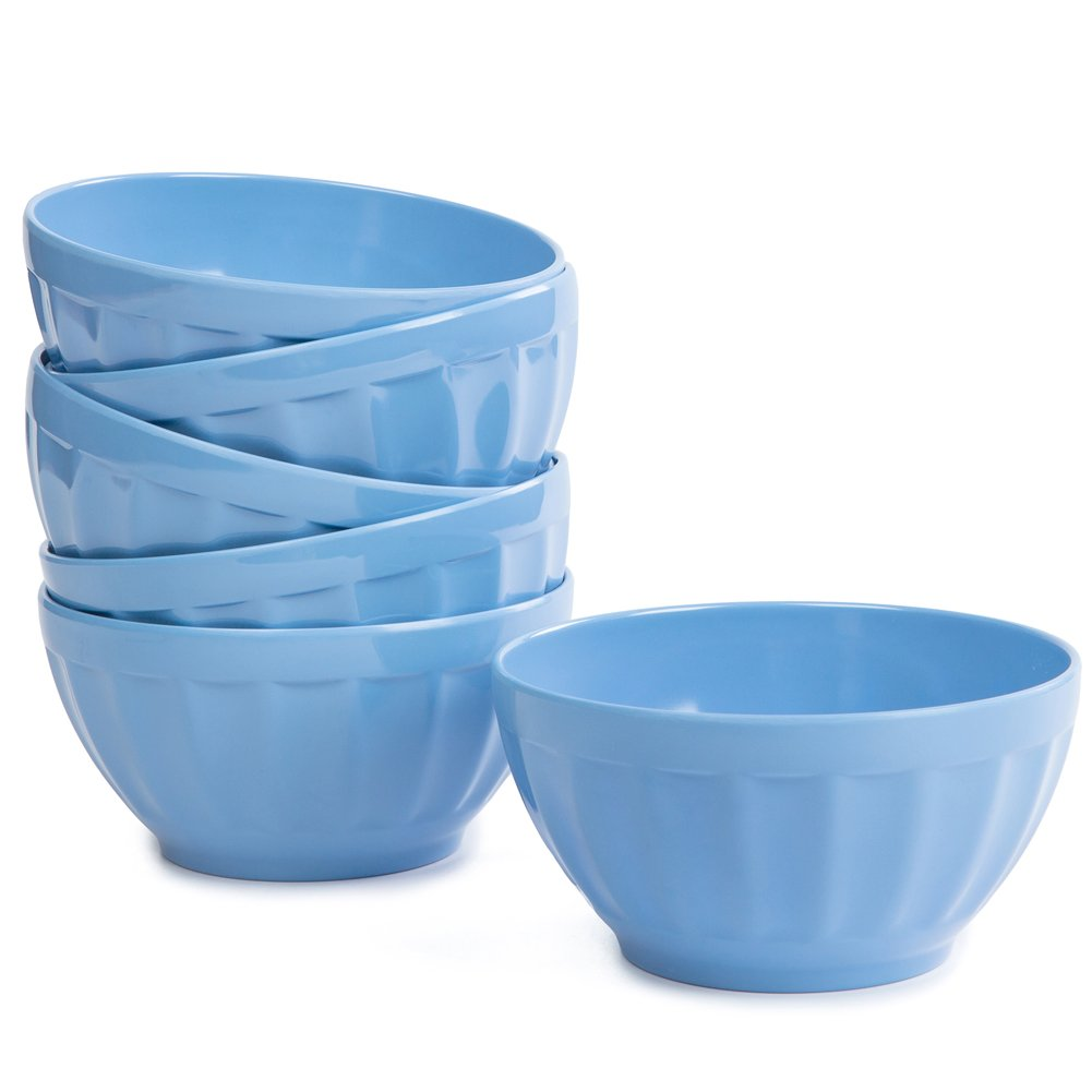 Melamine Cereal Bowls Set - 26 oz Salad Bowls 6pcs Indoor and Outdoor Everyday Use, Dishwasher Safe, Blue