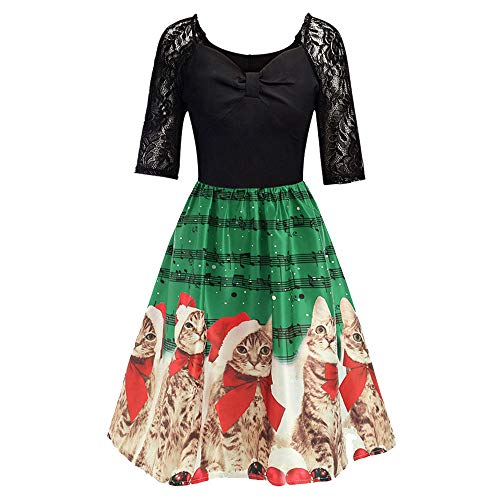Women Half Sleeve Lace Patchwork Dress Christmas Cats Musical Notes Print Flare Dress