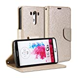 LG G3 Case, GMYLE Wallet Case Classic for LG G3 - Champagne Gold Natural Silk Pattern PU Leather Slim Stand Case Cover (Not Fit For LG G3 S, Beat and Vigor)