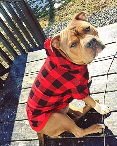 Plaid Dog Hoodie Pet Clothes Sweaters with Hat and Pocket for Small Medium Large Dogs Cats