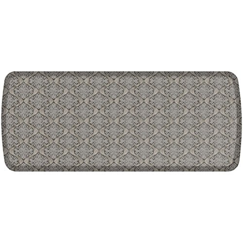 GelPro Elite Premier Anti-Fatigue Kitchen Comfort Floor Mat, 20x48'', Damask Dove Grey Stain Resistant Surface with therapeutic gel and energy-return foam for health & wellness