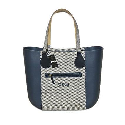 O Bag bolsa grande azul banda con bolsillo exterior con cremallera