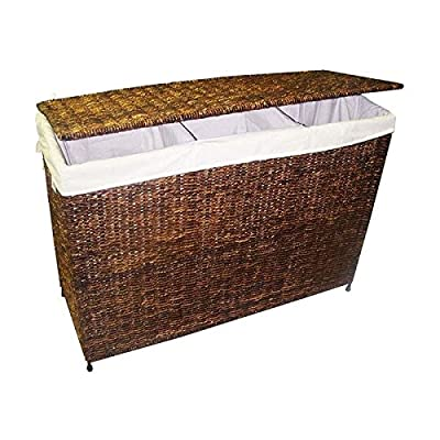3-Section Woven Maize Hamper in Walnut Finish w Full Load Liner - Versatile, handcrafted woven maize 3-section hamper Built with a knock-down design for easy storage and transport Decorative accessories will add warmth and style to your home decor - laundry-room, hampers-baskets, entryway-laundry-room - 51Zfp5FA52L. SS400  -