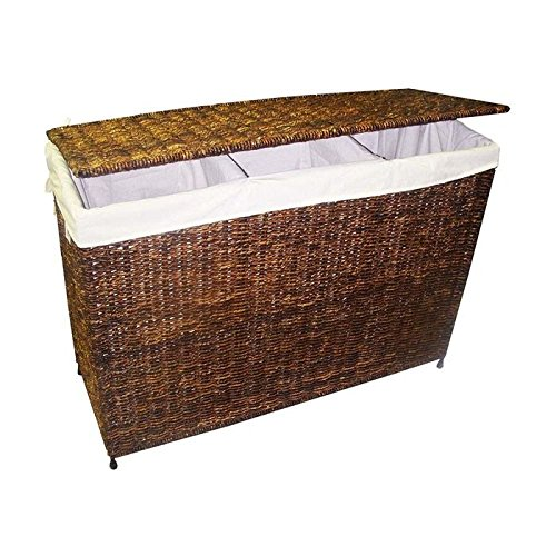 3-Section Woven Maize Hamper in Walnut Finish w Full Load Liner by America Basket
