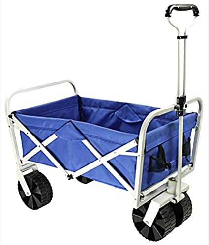 Summates Collapsible Folding Utility Wagon ,Garden Cart,outdoor,shopping  (White Frame+