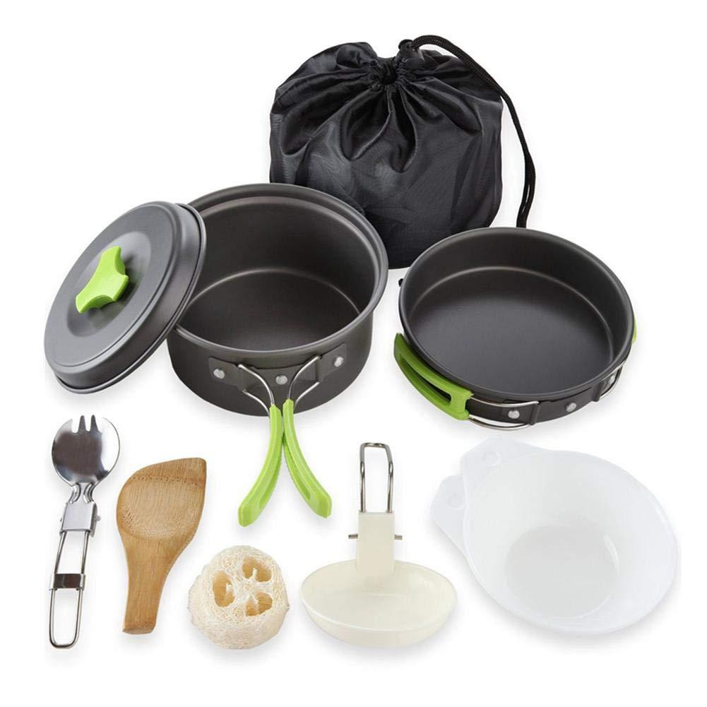 Olla de camping Utensilios Cocina Camping 9 piezas: Sartén * 2, tapa * 1, tazón * 2, cuchara sopera * 1, cuchara de arroz * 1, utensilio de lavado * 1, cuchara plegable de acero inoxidable * 1 Seasaleshop