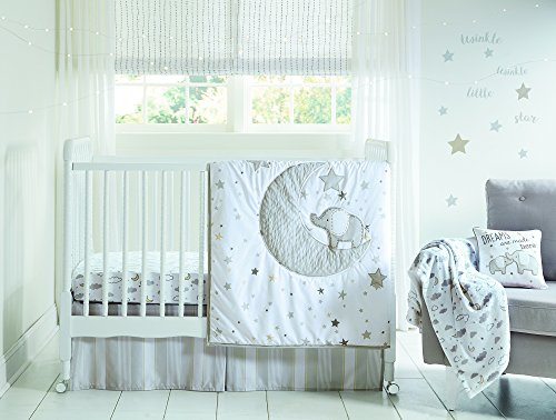 Wendy Bellissimo 4pc Nursery Bedding Baby Crib Bedding Set – Elephant in Grey