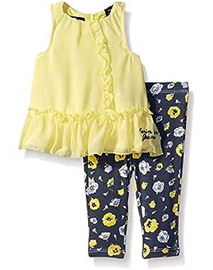 Baby Girls' Chiffon with Jersey Lining Yellow Tunic and Leggings