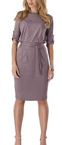 Hoyod Womens Half Sleeve Belt Fitted Slim OL Business Pencil Dresses