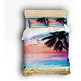 Queen Size Bedding Set- Seagull Palm Tree Beach Sunrise Duvet Cover Set Bedspread for Childrens/Kids/Teens/Adults, 4 Piece 100 % Cotton