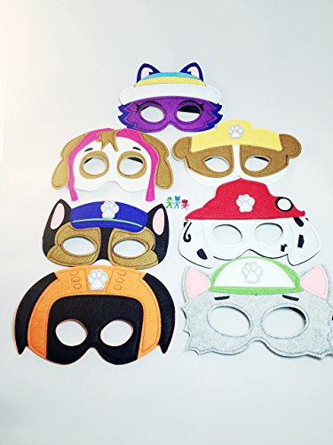 [Paw Patrol Masks Set of 7 Halloween Costume party favors Dress up by KoolKidz] (Paw Patrol Costumes Skye)