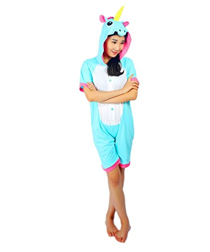 Kenmont Unicorn Pijamas Traje Disfraz Adulto Animal Pijamas Cosplay Halloween Verano (XL: 175-185cm, Azul Unicornio)