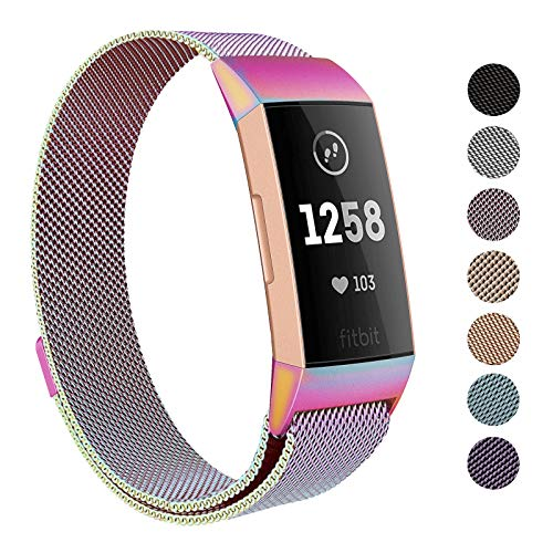 SWEES Metal Bands Compatible Fitbit Charge 3 & Charge 3 SE, Milanese Stainless Steel Magnetic Replacement Bands for Women Men Small & Large, Silver, Rose Gold, Black, Champagne, Colorful