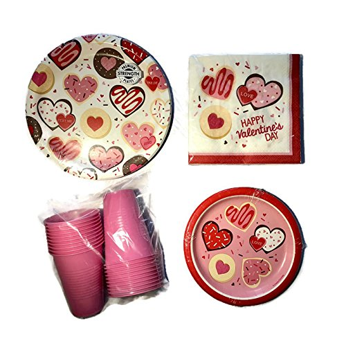 Valentines Day Party Pack Bundle for 8 Guests Includes Dinner Plates, Dinner Napkins, Dessert Plates and Plastic Cups