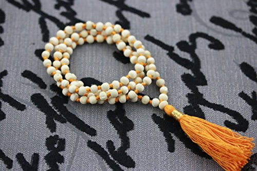Hitech 108 Beads White Sandalwood (Chandan) mala knotted in thread in traditional style to cure skin related problems and cooling. Size 36