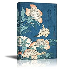 """Wall26 - (Buy 2 Get 3rd Same Size Art for Free) Peonies and Canary by Katsushika Hokusai - Canvas Print Wall Art Famous Painting Reproduction - 24"""" x 36"""""""