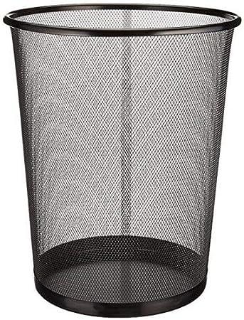 EUROXANTY® Papelera de oficina | 27 x 24 cm | Papelera circular de rejilla metálica | Papelera negra | 10 L