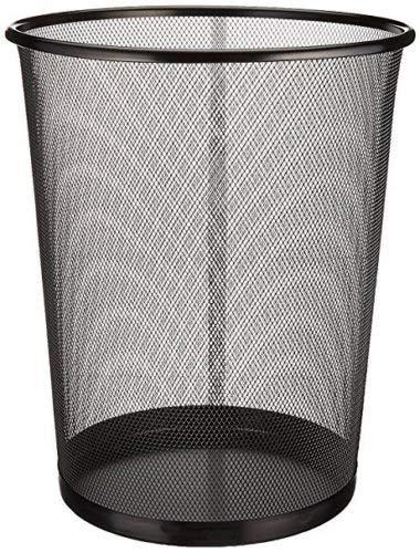 EUROXANTY® Papelera de oficina | 27 x 24 cm | Papelera circular de rejilla metalica | Papelera negra | 10 L