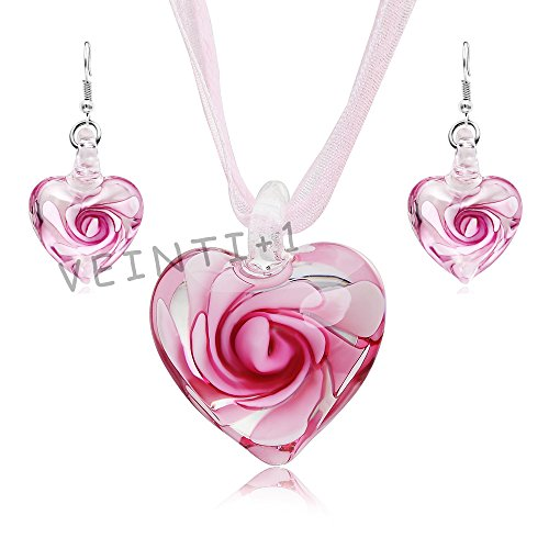 (VEINTI+1 Exotic Style Eye-catcher Handmade Romantic Heart with Pink Flower Design Glass Jewelry Set Necklace and Earrings(Pink)