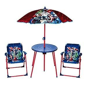 New Marvel Avengers Deluxe–Juego de sillas y mesa de jardín exterior