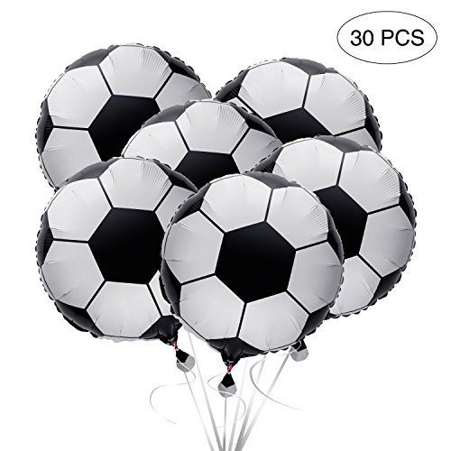 "2018 World Soccer Game Balloons 18""- Foil Mylar Aluminum Birthday Party Decorations Supplies 30Ct"