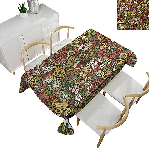 familytaste Casino,Wholesale tablecloths,Doodles Style Artwork of Bingo and Cards Excitement Checkers King Tambourine Vegas,Fabric Print Tablecloth 54