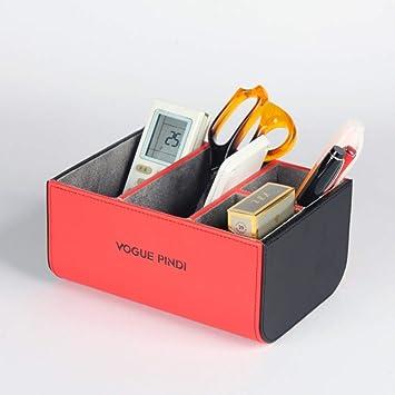 Bolígrafo de cuero PU Soporte organizador de mesa Soporte de control remoto Escritorio de oficina Caja de bolígrafo retro Juego de escritorio de negocios creativo Organizador multifuncional creativo C: Amazon.es: Electrónica