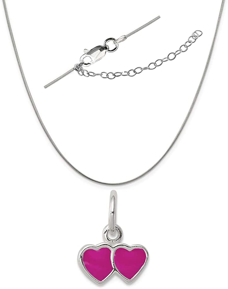Solid 925 Sterling Silver Pink Enameled Double Heart Pendant Charm 11mm x 15mm