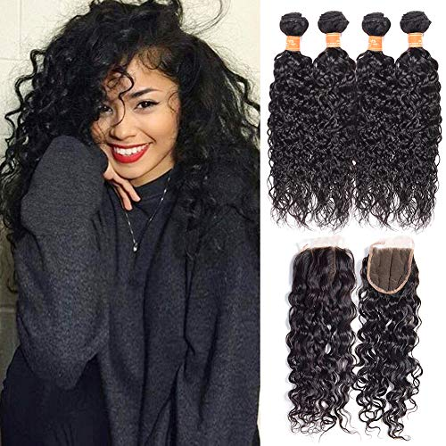 July Queen 9A Grade Brazilian Water Wave Bundles 100% Human Hair 4Bundles(16 18 20 22,200g) with 14 inch Lace Closure Human Hair Extension Brazilian Water Curly Hair