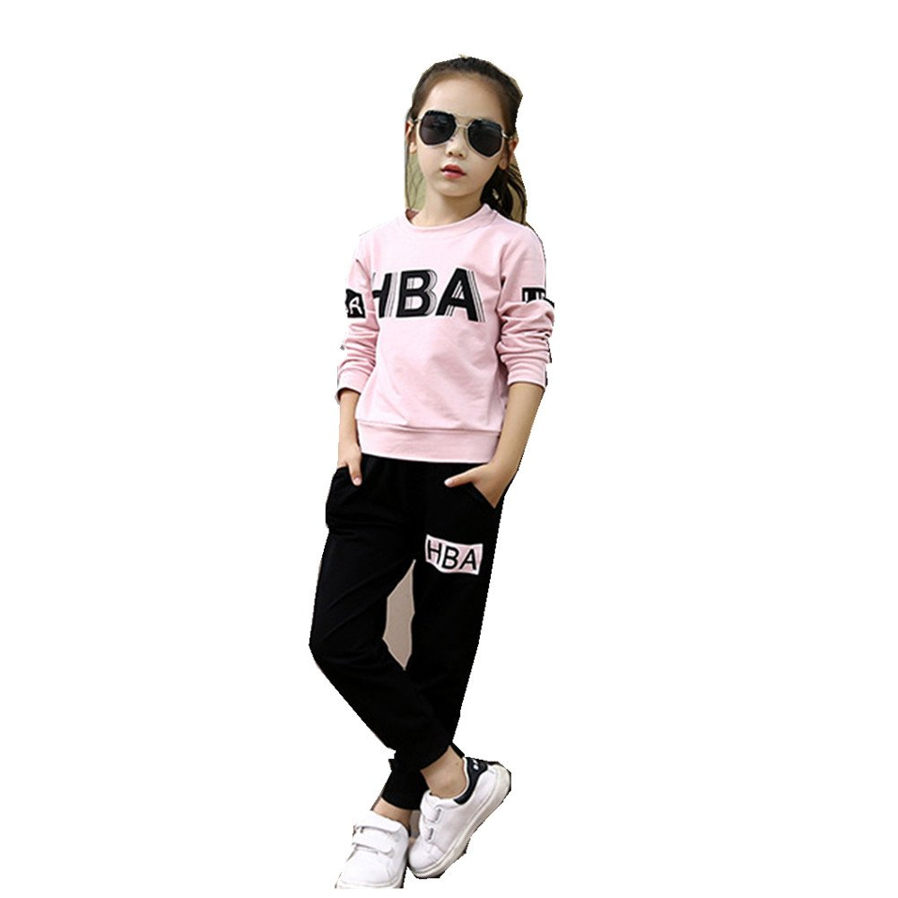 FTSUCQ Girls Letter Crew Neck Pullover Sports Two-Pieces Set,Pink 160 by FTSUCQ