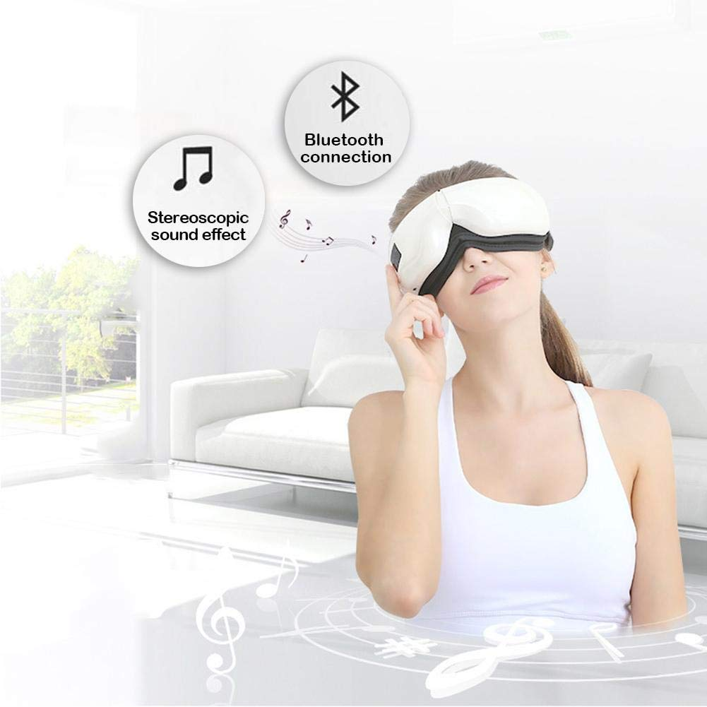 Wireless Digital Eye Massager, Foldable Intelligent Eye Massager with Heat Compression and Music Therapy Fatigue Relief for Eye Care 5 Working Modes for Vision