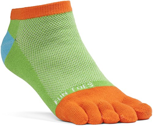 FUN TOES Women's Cotton Toe Socks Barefoot Running Socks -PACK OF 6 PAIRS- Size 9-11 -Lightweight- (Black/Coral) by FUN TOES (Image #2)