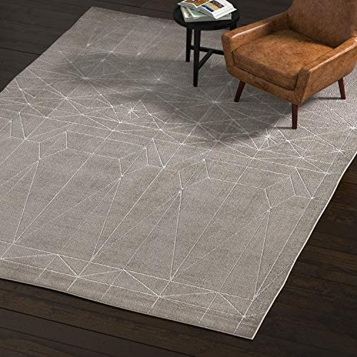 Amazon Brand Rivet Contemporary Polyester Area Rug, 8 x 11 Foot, Silver, Grey, White