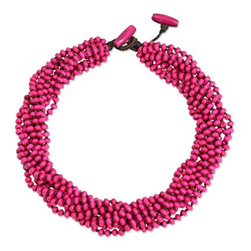 NOVICA Bright Pink Handmade Multi-Strand Beaded Wood Torsade Necklace, 19