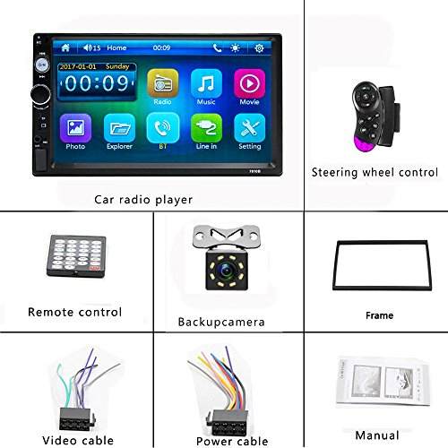 Camecho Double Din Car Stereo, Mirror Link 7'' HD Bluetooth Player Digital Monitor Touchscreen, Support USB/FM/TF/MP5 Multimedia 2 din Mobile Phone interconnection Car Backup Camera+ Remote Control by Camecho (Image #6)