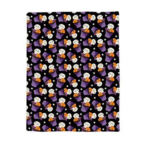 Super Soft Fleece Throw Blanket, Halloween Skull and Cup Cake 60